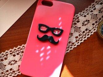 ヒゲ眼鏡*スマホケース*ピンクの画像