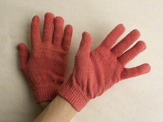 茜染め シルク手袋の画像
