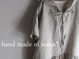 【受注製作/4.22再販売】W50半袖リネン前リボンフード付きワンピース★キナリの画像