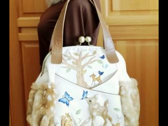 ✿森のバンビとモルフォ蝶✿ターシャンのがま口バッグの画像