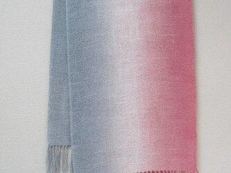 「ローズとグレーブルー」シルク 100%真綿紬  ストールの画像