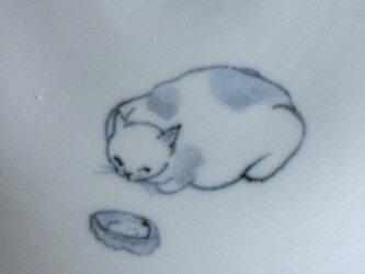 染付5寸猫皿 30の画像