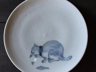 染付4寸猫皿 23の画像