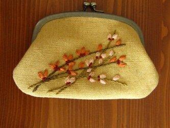 手刺繍・ヨコ長がまぐち(花)の画像