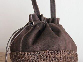 巾着型ハンドバッグ (ピッグスエード/鹿革ニット)の画像