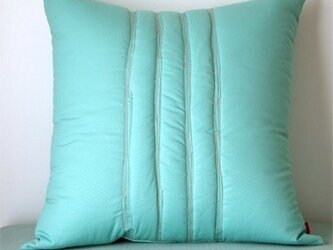 Quilt cushion (L) / jade greenの画像