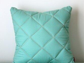 Quilt cushion (M) / jade greenの画像