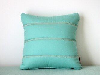 Quilt cushion (S) / jade greenの画像