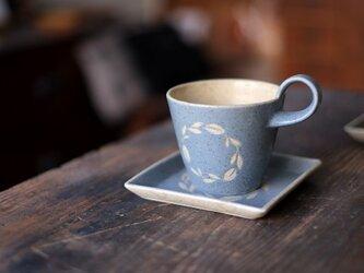 リース柄のカップ&ソーサー(空色)の画像