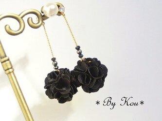 【2way】✿~Black bouquet~✿ロングピアス。の画像