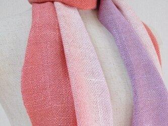 珊瑚色と薄紅絹色 シルク 100%真綿紬  ストールの画像