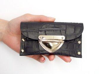 クラッチ・カードケース(名刺入れ)  P式クロコ型押し革(黒)の画像
