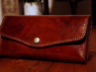 [送料無料] 手縫いの軽くて丈夫な高級アンティークレザー長財布BRの画像