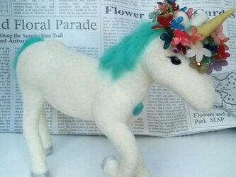 羊毛♪ユニコーン†お花の冠付きの画像