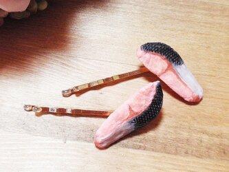 焼き鮭ヘアピン2個セット★ゴールド★リアルフェイクデコ★の画像