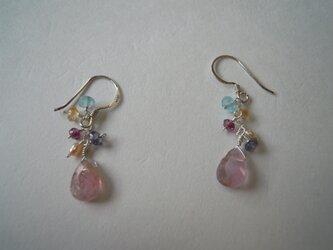 ピンクトルマリンのピアス*「桜の舞う頃」の画像
