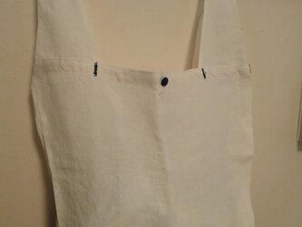 リネンの買い物 エコバッグ その1 白の画像