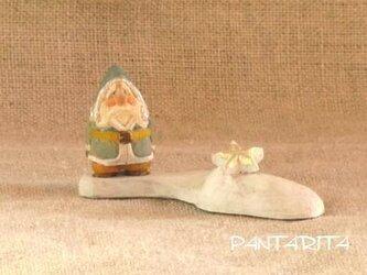 木彫り 小さな小さなサンタクロース+☆の画像