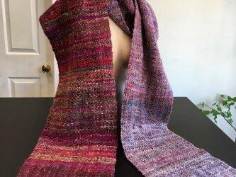 手紡ぎ 織り マフラーの画像