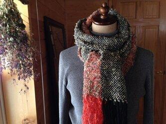 SOLD 手織り イタリアウール糸 ブラック&オレンジの画像