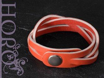 clarity,S-革ブレスレット-赤の画像