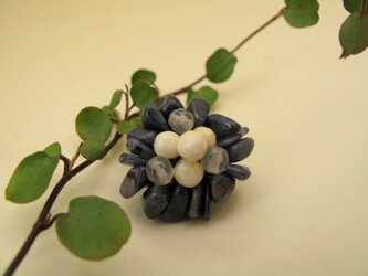 Flower Brooch ~Mini Navy~の画像