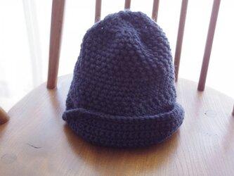 ハンドメイドのウールキャスケット帽の画像