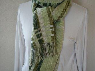 昼夜織り マフラー(緑)の画像