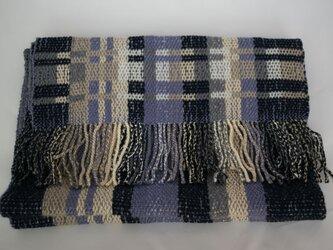 昼夜織りマフラー(青・グレー)の画像