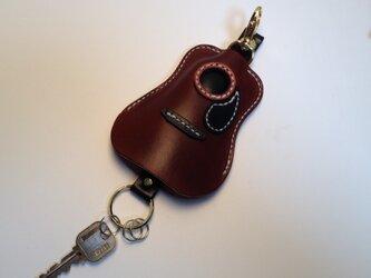 (受注製作) 革製 / キーケース / アコースティックギター / BROWNの画像
