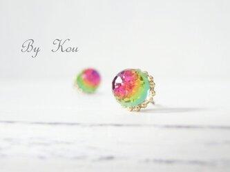 *petit*ヴィンテージ・ピアス。~虹~の画像