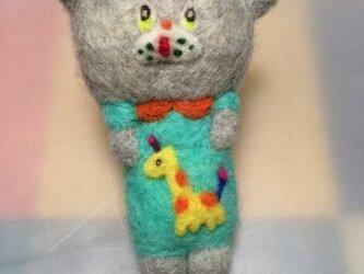 おとぼけネコのストラップ(羊毛フェルト)の画像
