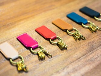 革と真鍮のキーホルダー(カラーオーダー可)の画像