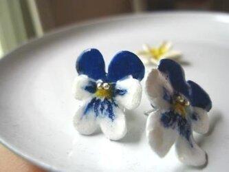 ブルーの手作りビオラの画像