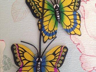 アゲハ蝶の本革手描きチャームの画像
