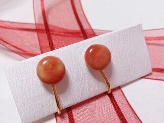 紅いひとつぶ 陶イヤリングの画像
