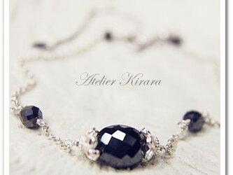 超大粒ブラックダイヤモンド&SV925ブレスレットの画像