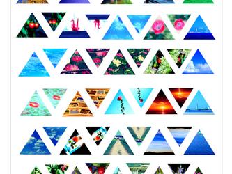 透きとーる三角形の写真シールの画像
