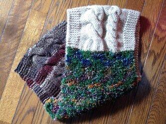縄編みの変わり糸ミックススヌードの画像