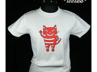 ★赤色の立って手を振る猫のTシャツ・新品★★の画像