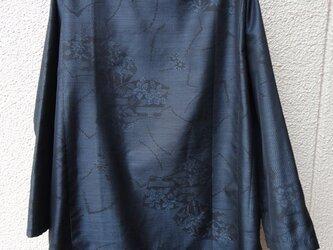 着物リメイク・扇柄大島紬スリットチュニック/ポケット付の画像
