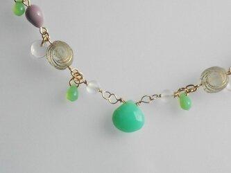 クリソプレーズ*beadsネックレスの画像