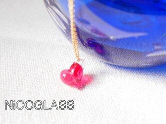 ぷっくりコロン♪ハートのネックレス・ピンクの画像