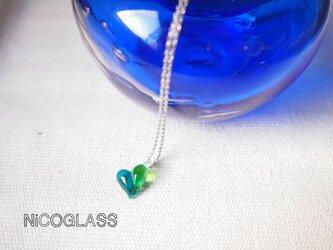 ぷっくりコロン♪ハートのネックレス・青緑の画像