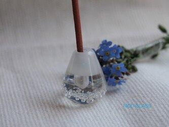 ぽったりコロン♪ガラスのお香立て・白×透明の画像