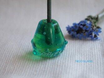 ぽったりコロン♪ガラスのお香立て・緑系グラデーションの画像