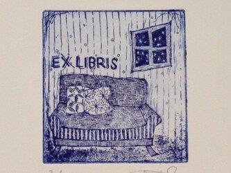 exlibris(蔵書票) 銅版画「冬のソファ」ブルーの画像