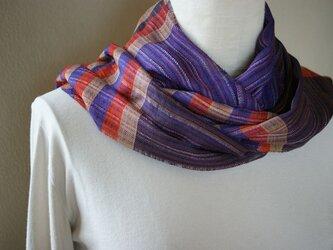 手織り シルクストールの画像