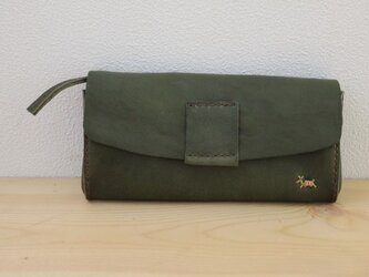 栃木レザー 手縫いのたっぷり本革財布 (green)の画像
