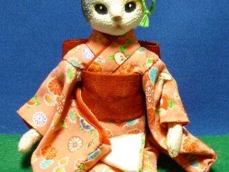 綿の着物を着た甘えん坊の妹猫ちゃんの画像